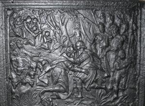 """Øverste del av sideplate, med """"Jakob og Esaus møte"""". Trolig Fossum, ca 1630."""